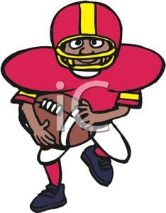 234x300 Sports Clipart Image of Football Player Running In Color