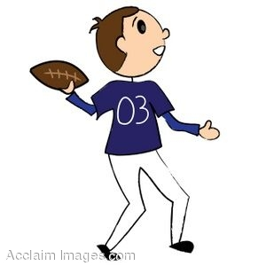 300x300 Clip Art of a Stick Figure Football Player