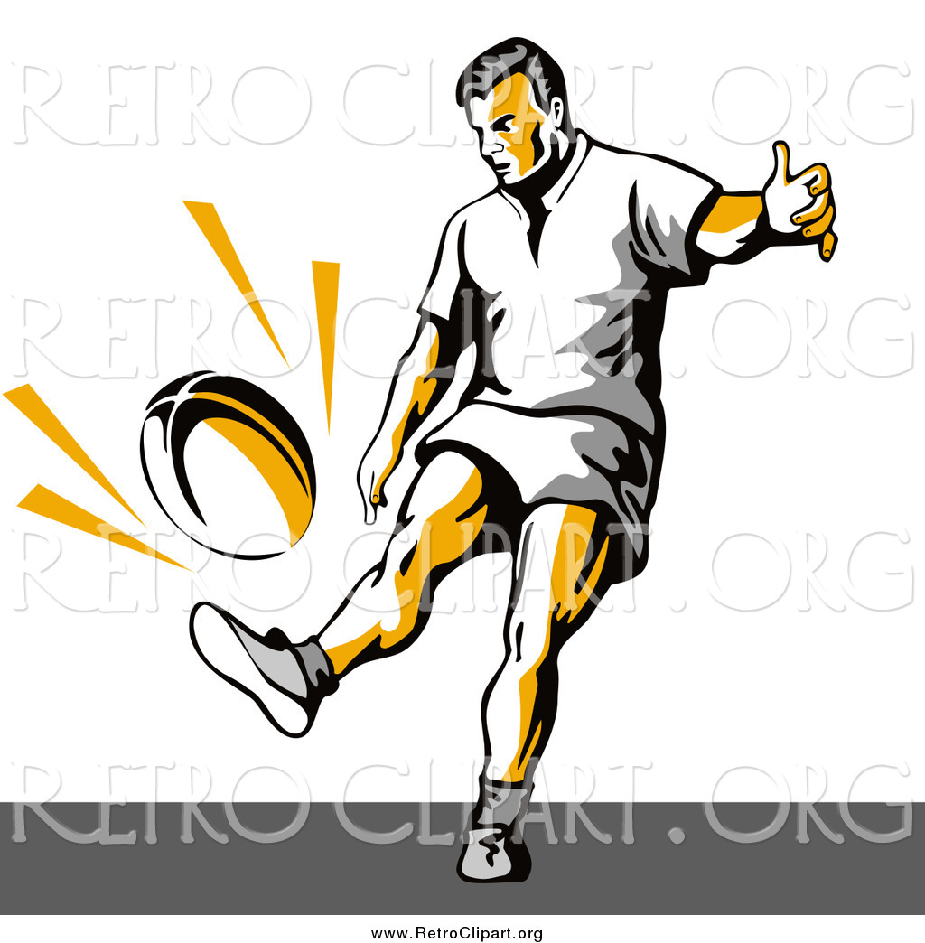 1024x1044 Clipart Of A Retro Rugby Football Player Kicking By Patrimonio