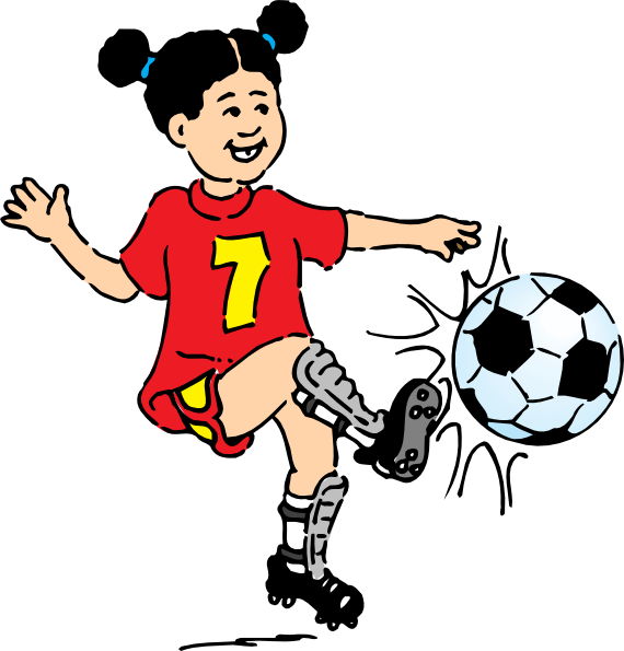 570x595 Football Girl Clip Art