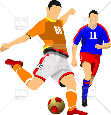 387x400 Two Soccer Players Royalty Free Vector Clip Art Image