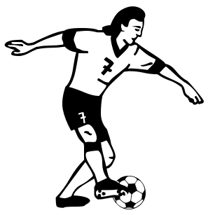 297x307 Black amp White clipart soccer player