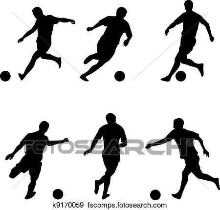 450x430 Clip Art of Soccer, football players silhouettes k9170059