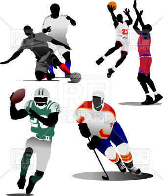 333x400 Colorful silhouettes of soccer players, ice hockey player