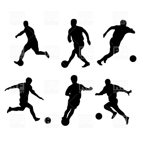 500x500 Soccer Players Silhouette Free Vector Clip Art Image