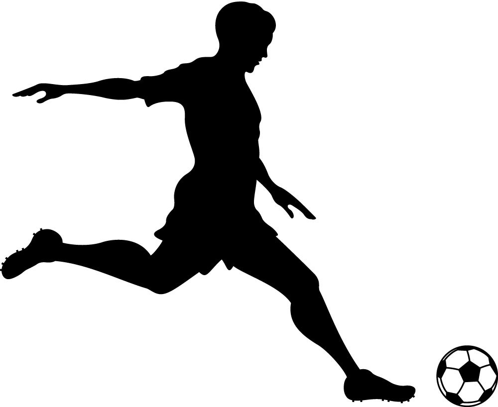 1000x818 Black amp White clipart soccer player