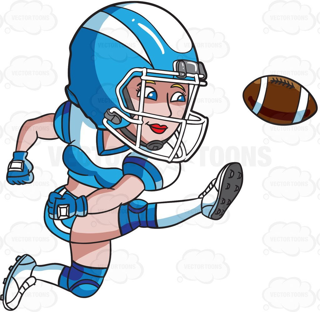 1024x1001 A Female Football Player Kicking The Ball Cartoon Clipart