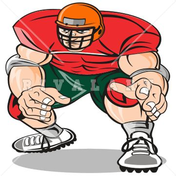 361x361 Sports Clipart Image Of Football Player Large Big Guy Defense