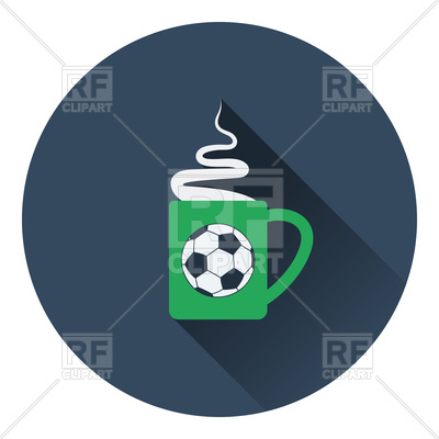 400x400 Flat Color Design Of Football Coffee Cup Royalty Free Vector Clip