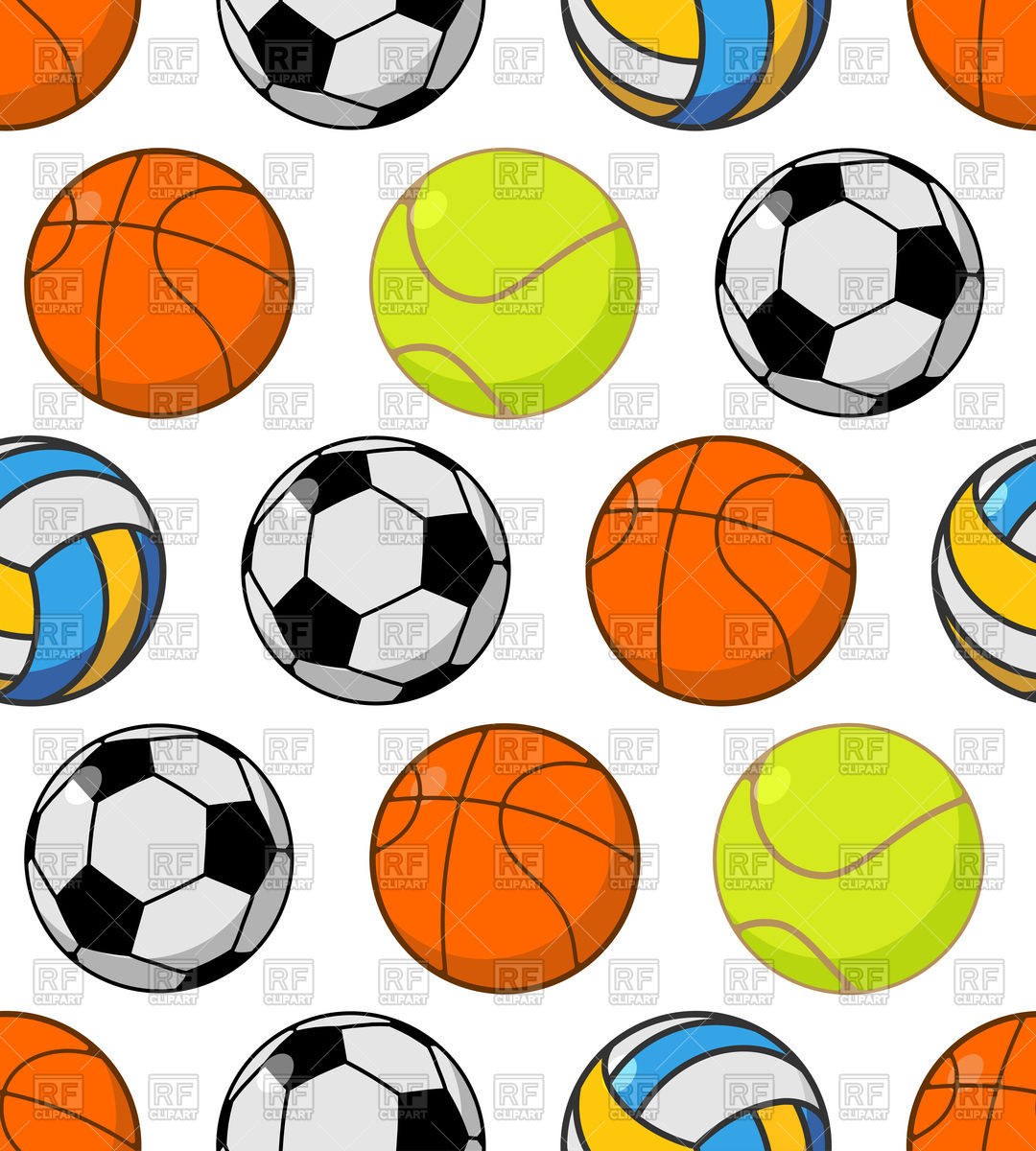 1080x1200 Seamless Pattern With Balls Basketball,football And Tennis Ball
