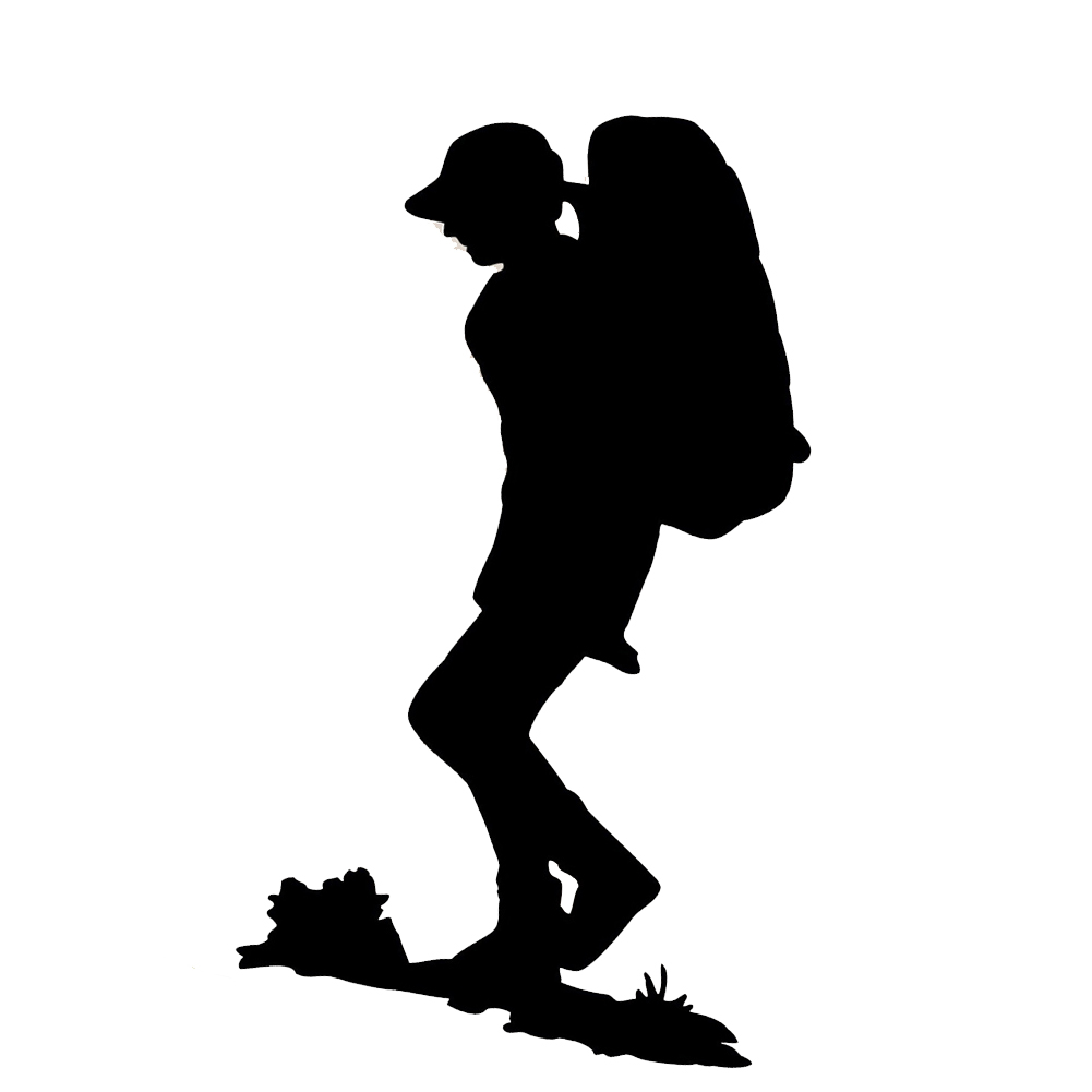 1001x1001 Lone Hiker Silhouette Backpacking Vinyl Sticker Car Decal