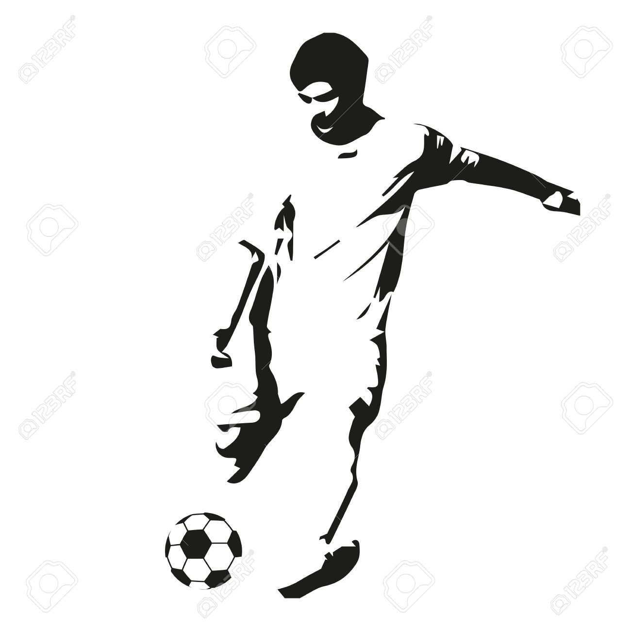 1300x1300 Soccer Player Vector Illustration. Footballer Isolated Abstract