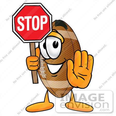 450x450 Clip Art Graphic Of A Football Cartoon Character Holding A Stop