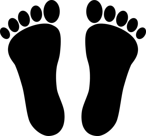600x558 Two Footprints Black Free Vector In Open Office Drawing Svg ( Svg