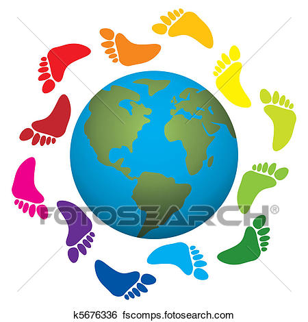 450x470 Clip Art Of Foot Prints Around The Earth K5676336