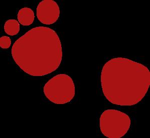 299x276 Maroon Footsteps Clip Art