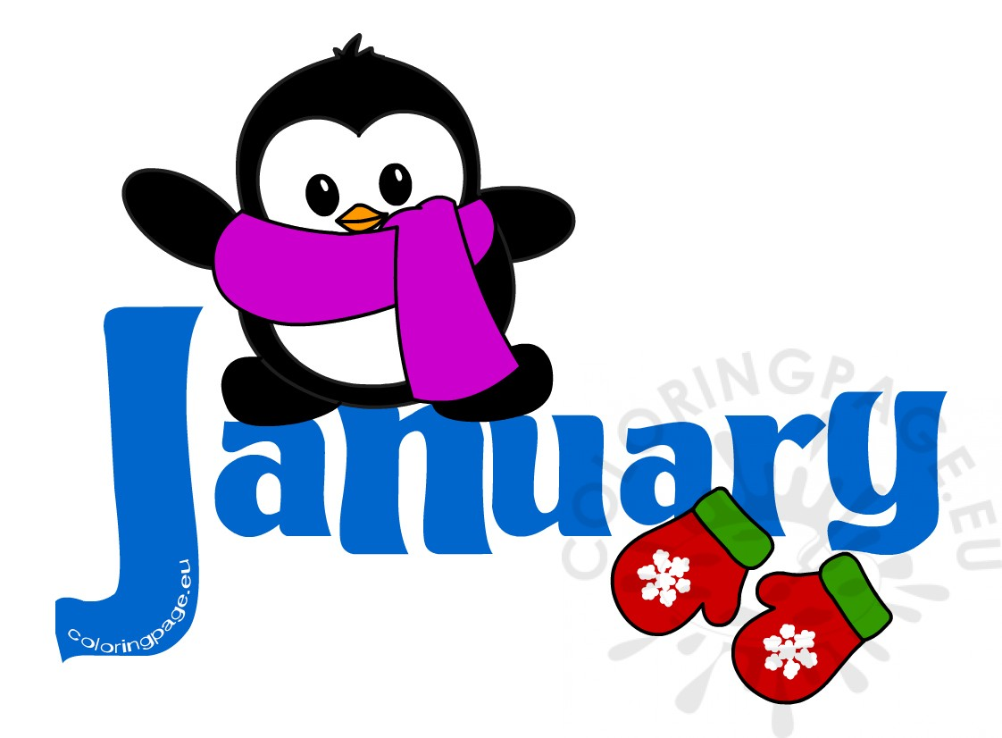 1122x826 January Month Penguin Clip Art Coloring Page