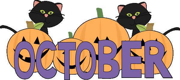 600x267 October Pumpkins And Black Cats Clip Art