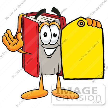 450x450 Clip Art Graphic Of A Book Cartoon Character Holding A Yellow