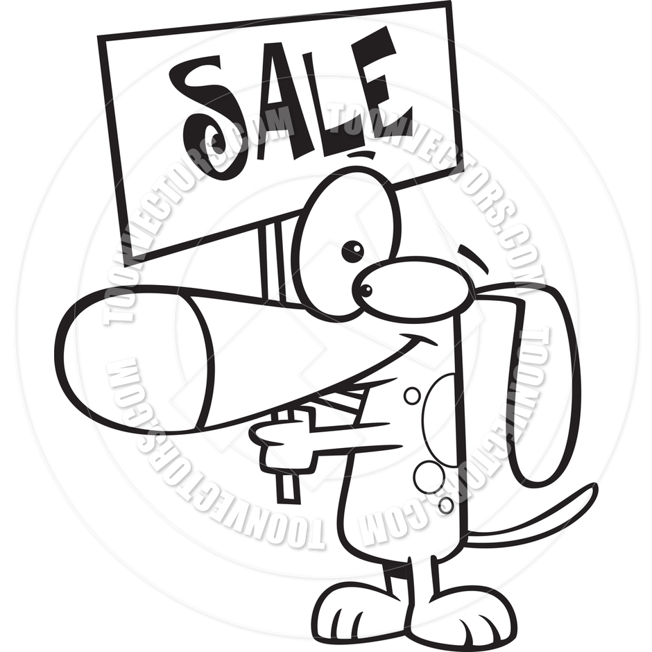940x940 Cartoon Dog Holding Sale Sign (Black Amp White Line Art) By Ron