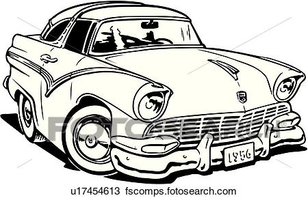 450x290 Clipart Of Illustration, Lineart, 1956, Ford, Crown, Victoria