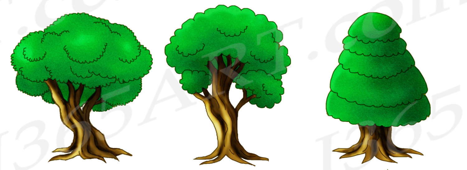 1500x548 50% OFF Tree Clipart, Tree Clip Art, Green, Forest Clipart, Hand