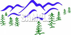 300x149 Art Image Mountains and Forest of Pine Trees