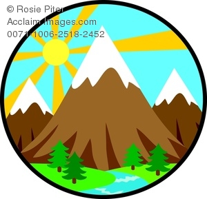 300x289 Clip Art Image of Mountains In the Forest With a Bright Sun In the