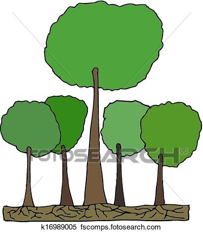 411x470 Clipart of Tall tree in Forest Vector k16989005