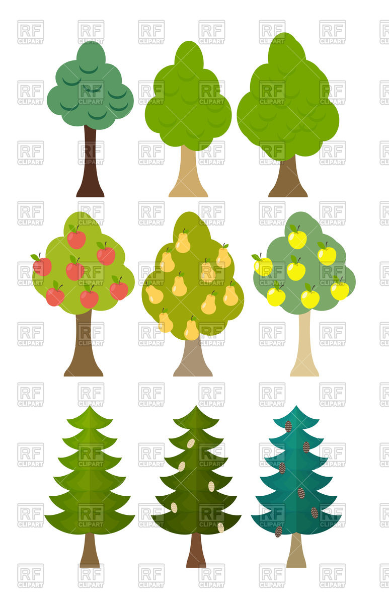 773x1200 Set icon of fruit trees, conifers, forest trees Royalty Free