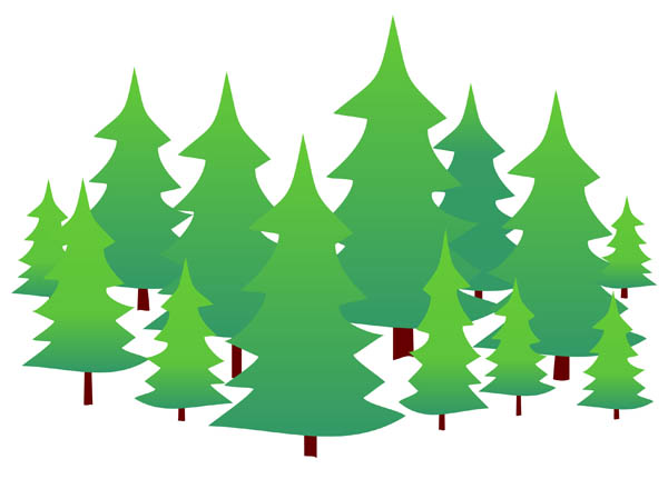 600x431 Evergreen trees free clip art