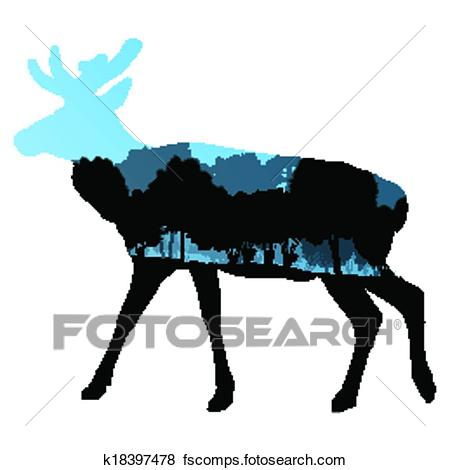 450x470 Clip Art of Deer wild animal silhouette in nature forest landscape