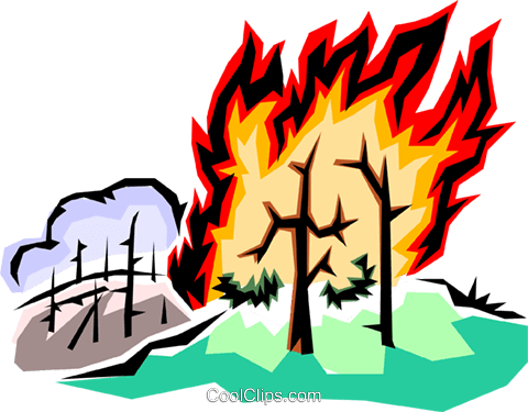 480x375 Forest Fire Royalty Free Vector Clip Art Illustration Envi0004