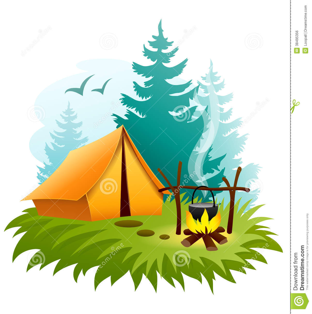 1289x1300 Camping Scenes Clipart