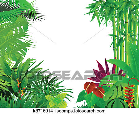 450x367 Clipart Of Tropical Forest Background K8716914