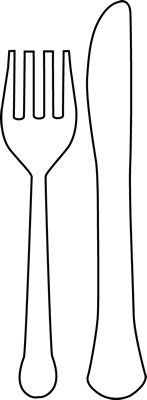 147x400 Black And White Fork And Knife Clip Art