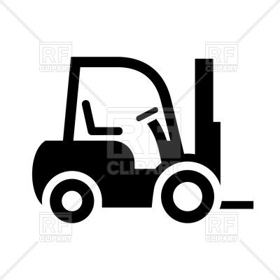 400x400 Forklift Black Icon Isolated On White Background Royalty Free