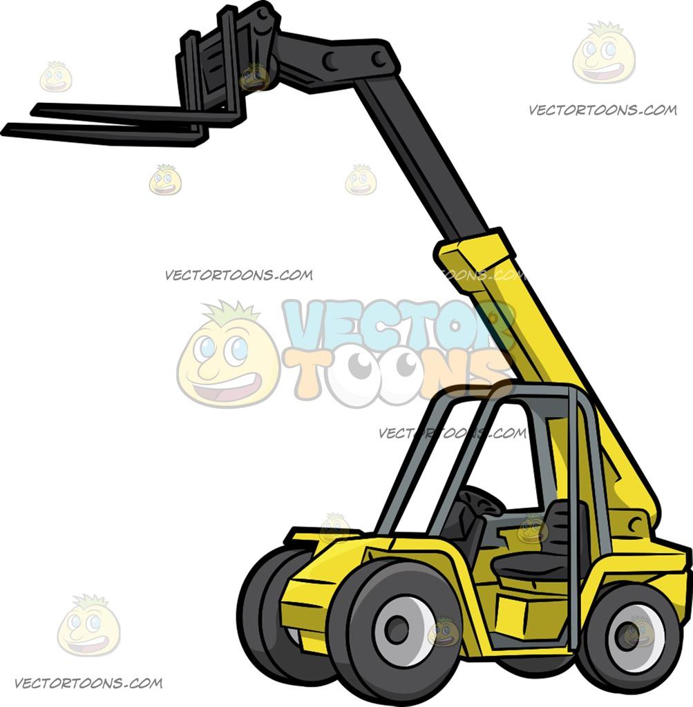 1003x1024 A Telehandler Forklift Cartoon Clipart