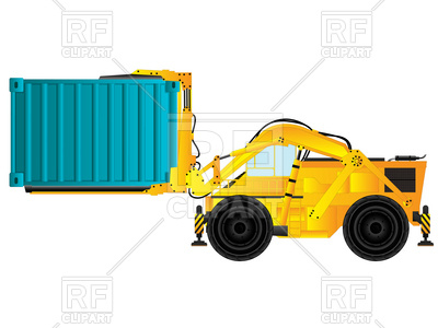 400x300 Large Build Forklift Holding Cargo Container Royalty Free Vector