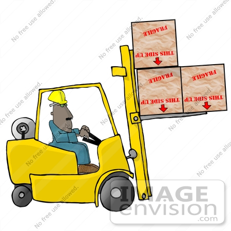 450x450 African American Forklift Operator Lifting Three Large Boxes