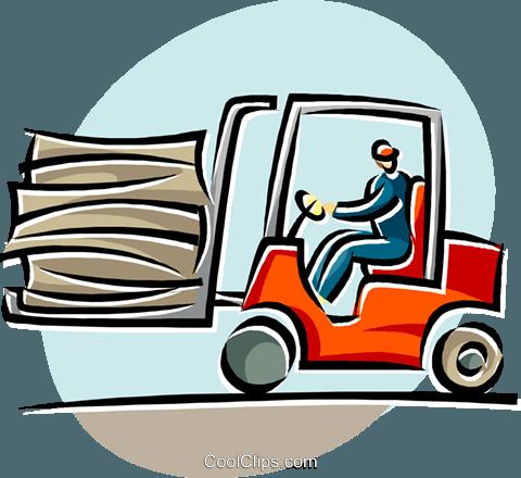 480x440 Forklift Operators Royalty Free Vector Clip Art Illustration