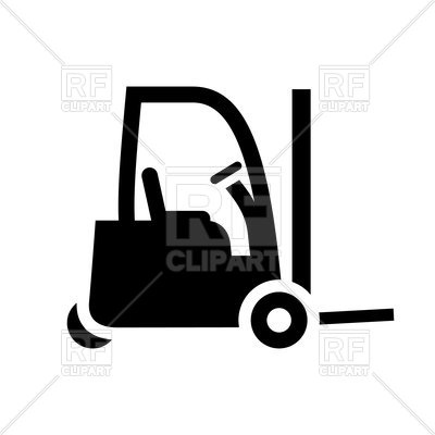 400x400 Black Forklift Icon On White Background Royalty Free Vector Clip