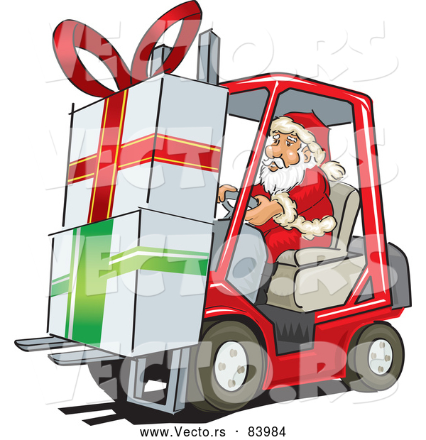 600x620 Cartoon Vector Of Santa Delivering Big Presents With Forklift By