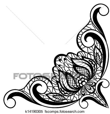 450x467 Clipart Of Abstract Black And White Floral Arrangement In The Form