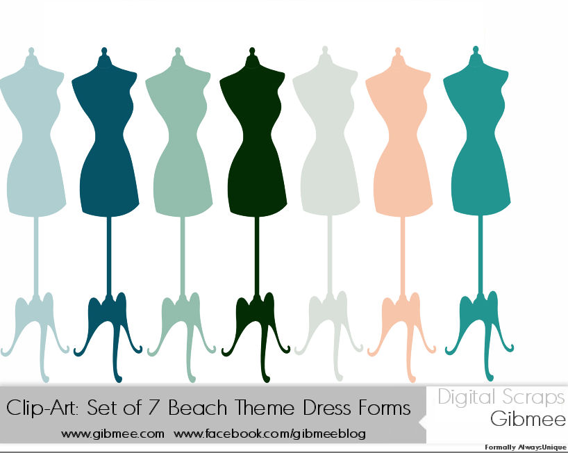 818x652 Clip Art Set Of 7 Blue Beach Theme Dress Forms By Gibmee