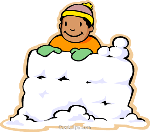 480x421 Boy In Snow Fort, Snow Fight Royalty Free Vector Clip Art