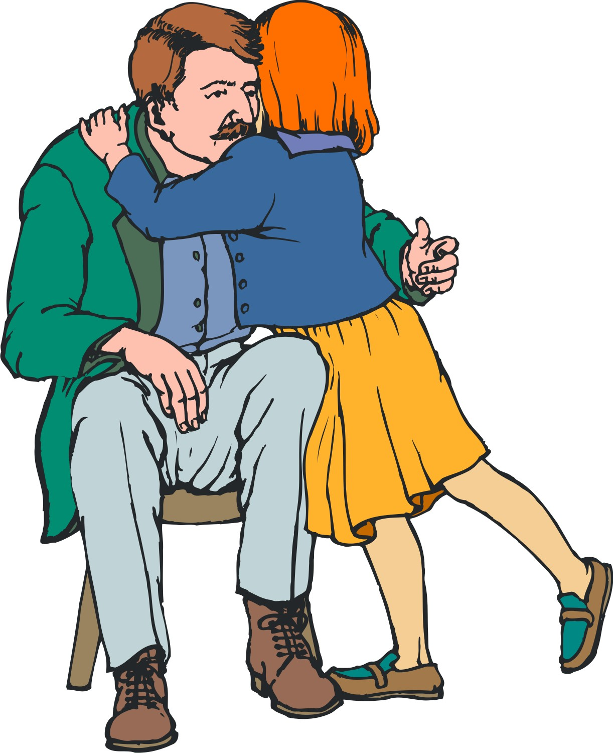 1222x1500 Father And Daughter Hugging Clipart