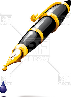 290x400 Ink Fountain Pen With Drop Royalty Free Vector Clip Art Image