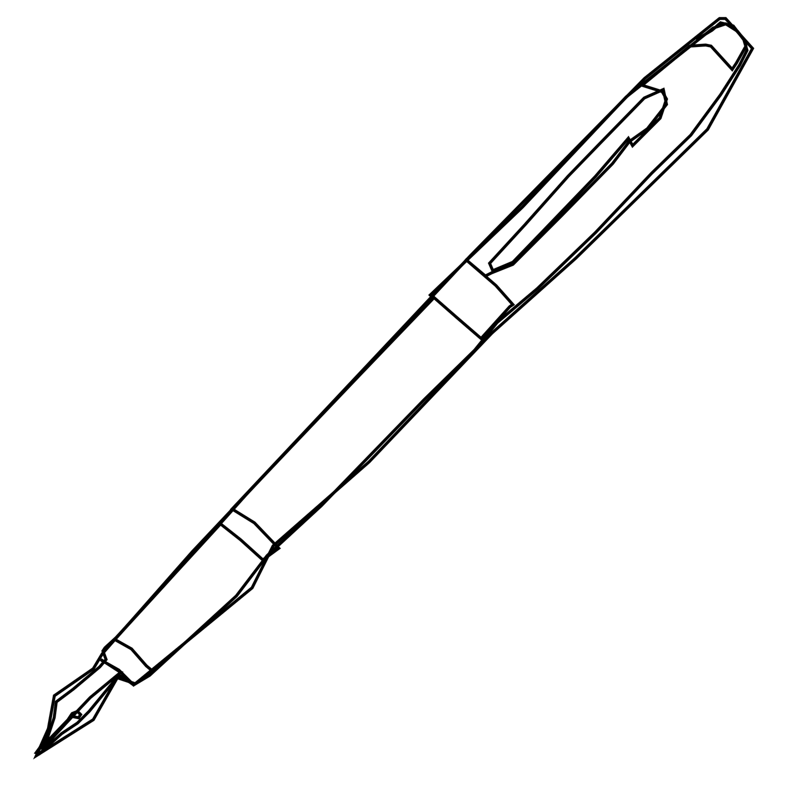 1600x1600 Black And White Fountain Pen Clipart