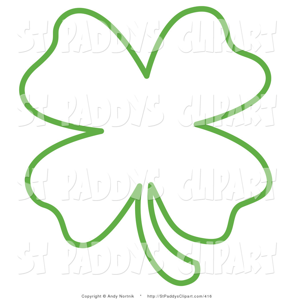 1024x1044 Vector Clip Art Of A Green Lucky Four Leaf Clover Shamrock Outline